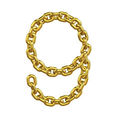 3d Gold Chain Numbers Font - 9