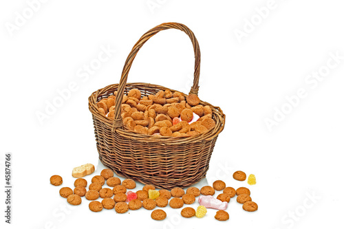 Basket full of gingernuts and sweets for 5 december