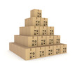 Pyramid made of carton boxes.