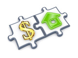 Merged puzzles with dollar and home symbol. poster