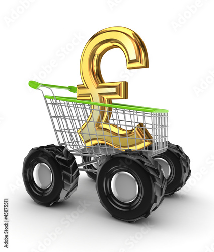 Pound sterling sign in a shopping trolley.