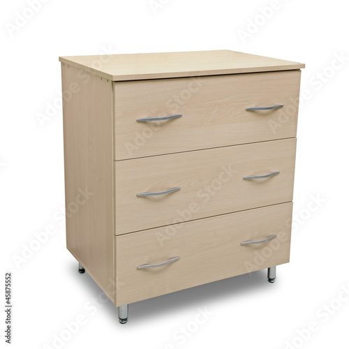 chest of drawers isolated on white background