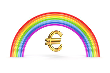 Rainbow and euro sign.