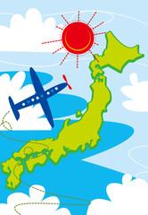 日本,地図,旅行,飛行機,太陽,空,ビジネス