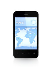 Modern mobile phone a world map.
