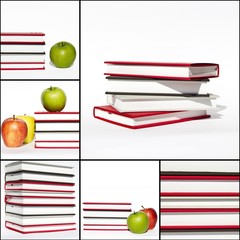Collage - Books and apples