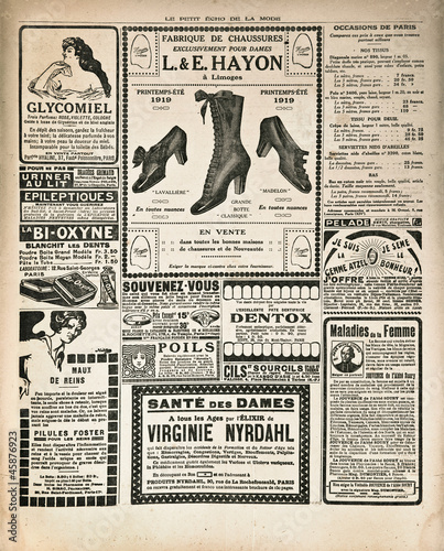 newspaper page with antique advertisement