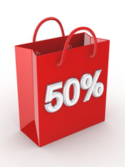 "The red bag labeled ""50%""."