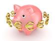Golden euro signs around pink piggy bank.