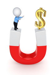 3d small person and dollar sign on a horseshoe.