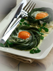 Green Beans And Baked Eggs