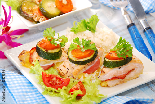 baked chicken breast filled with ham and cheese