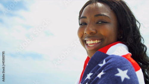 Full Frame Smiling Stars Stripes Beach Girl