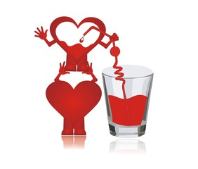 hearts drink blood (transfusion)