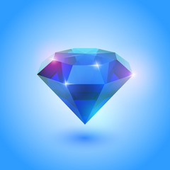 A beautiful sapphire gem on a gradient background