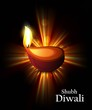 Happy diwali colorful rainbow rays diya stylish wave vector
