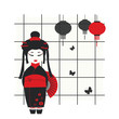 Vector illustration of a geisha girl with fan