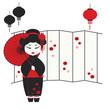 Vector illustration of a geisha girl with umbrella