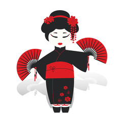 Geisha girl dancing with fans isolated on white
