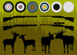 Shooting range wild deer, elk and moose silhouettes and guns vec