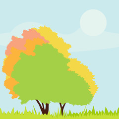 Trees detailed illustration collection background