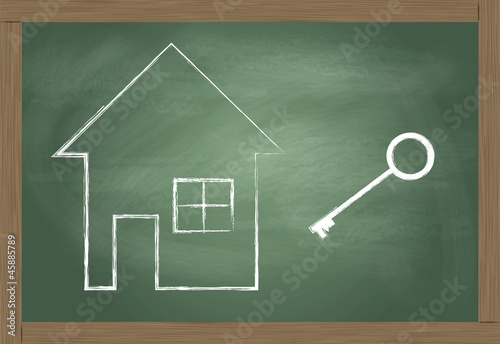 House and key vector background safety and investment