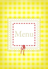 Menu with  inscription on yellow background.