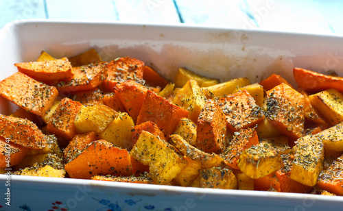 Aromatic pumpkin gratin with olive oil and herbs
