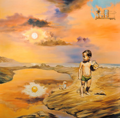 "Surreal oil painting on canvas - ""Children's Day"""