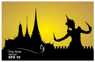 thai dance woman with temple in thailand background silhouette