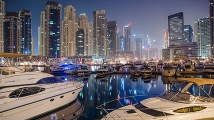Dubai Marina at Blue Night 4K Timelapse