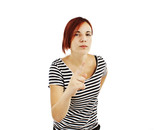 Angry young woman scolds on white background