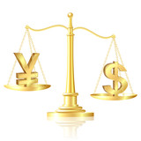 Dollar outweighs Yen on scales. poster