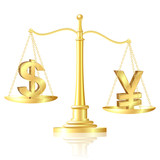 Yen outweighs Dollar on scales. poster