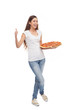 Pizza delivery woman showing thumbs up