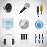 musical equipment vector icons