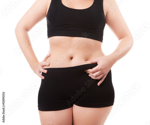 Size 40-42 woman's body isolated over white background