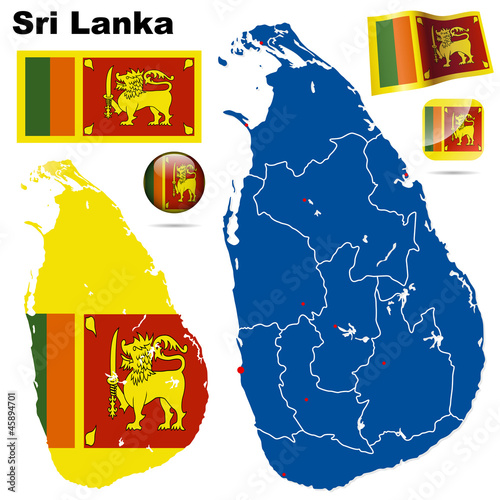 Sri Lanka vector set. Detailed country shape