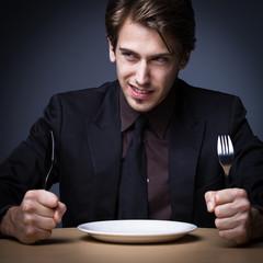 Hungriger Mann