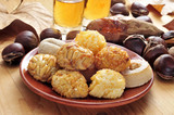 panellets and roasted chestnuts and sweet potatoes, a typical di