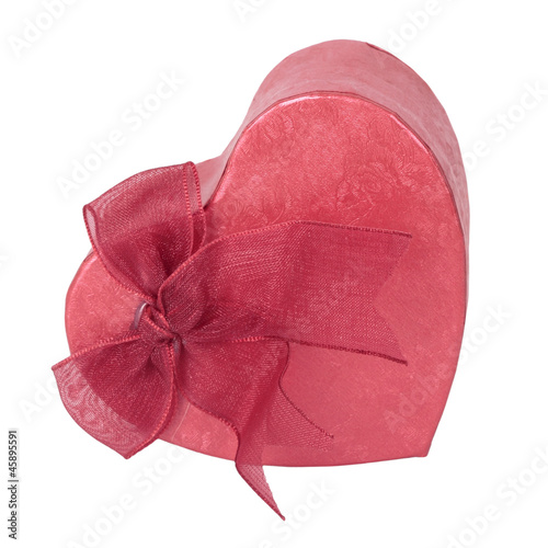 Red box as heart with ribbon on white background