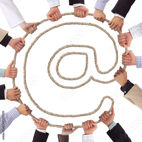 Business hands holding rope forming mail icon