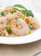 Shrimps with rice and vegetables