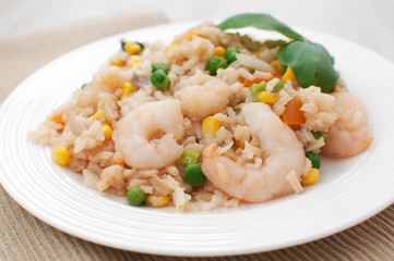 Shrimp pilaf with rice and vegetables