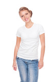 woman in white t-shirt posing in studio