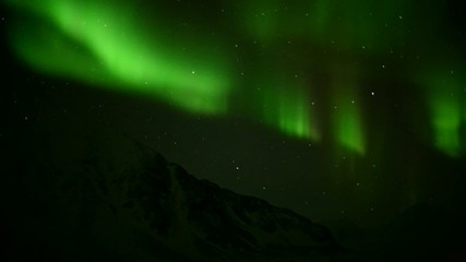 Aurora Borealis over the Arctic mountains