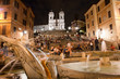 Night view at Piazza di Spagna fountain and trinita dei Monti Ro