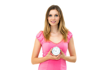 woman holding a clock