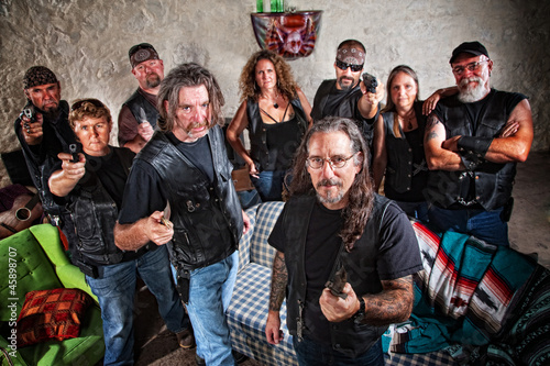 Nine Tough Biker Gang Members