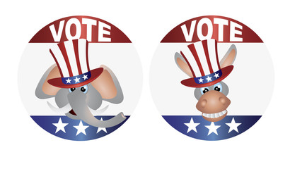 Vote Republican and Democrat with Uncle Sam Hat Buttons Illustra
